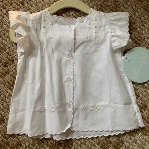 Little English white and cream tea blouse